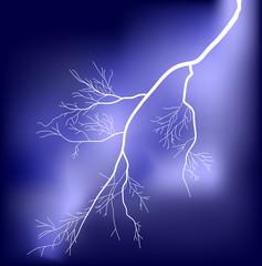 white lightning in lilac sky illustration