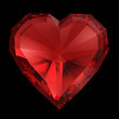 Red diamond heart isolated with clipping path