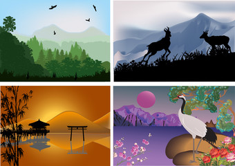set of four landscapes with mountains