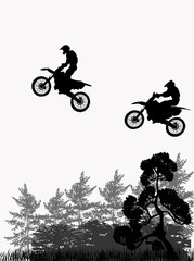jumping motorcyclists above forest