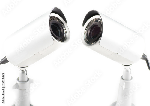 Day & Night Color surveillance video camera isolated on white