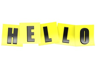 Hello in yellow note