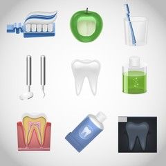 dental vector icon set
