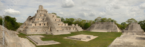 Panoramic view of the Mayan pyramids Edzna. Yucatan, Campeche,