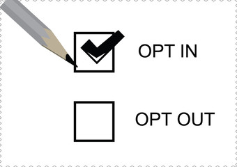 opt in and out options with a pencil on white paper background