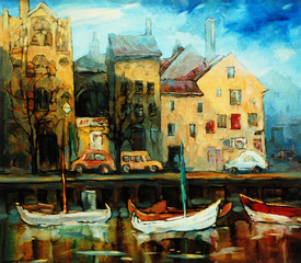 Denmark, Copenhagen, Illustration, painting by oil on canvas