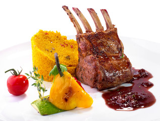 rack of lamb with vegetables and couscous