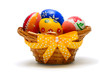 easter eggs in basket decorated with ribbon