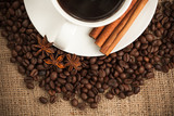 cup of aromatic coffee with cinnamon poster