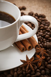 white cup of aromatic coffee with cinnamon poster