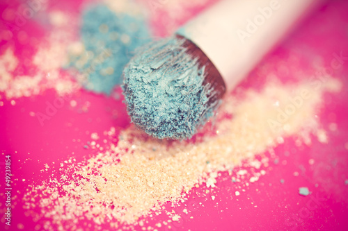 blue eyeshadow and brush macro