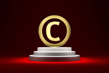 Copyright symbol on the podium