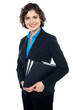 Attractive corporate lady with files in hand