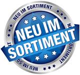 "Button Banner ""Neu im Sortiment"" blau/silber"