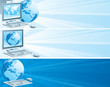 Digital Europe. Set  of banners with computer and  globe