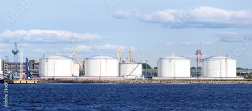 large oil fuel tanks in the port