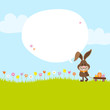 Bunny Pulling Handcart Easter Eggs Speech Bubble