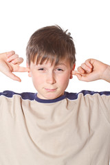 boy with closed ears