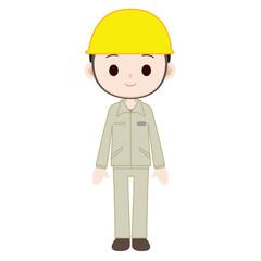 黄色のヘルメットを着用した男性