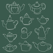 Set of 11 Hand Drawn Chalk Teapot Design Elements