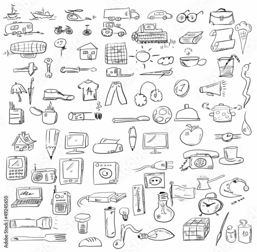 set doodle objects business icons