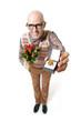 Nerd mit Verlobungsring und Rosen