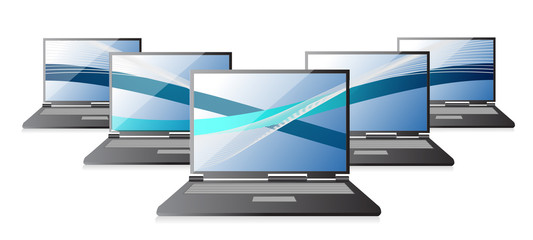 Set of laptops computers with waves,