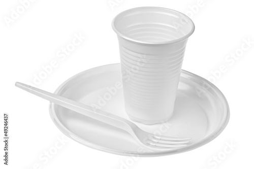plastic plates and glasses - 49246437
