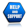 help and support in hexagon button