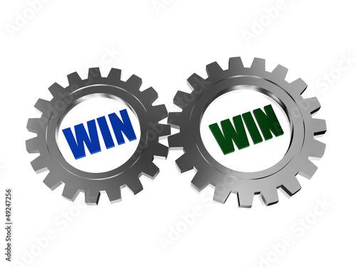 win win in silver grey gearwheels
