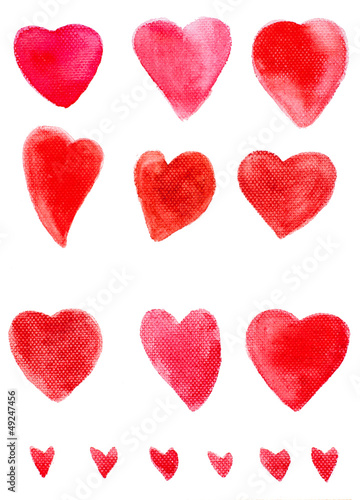 Hand painted watercolor hearts on canvas