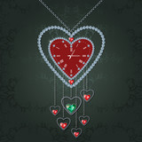 Heart-clock with diamonds and chain on elegant green background