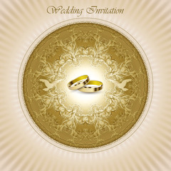 Beautiful vintage wedding invitation card with rings