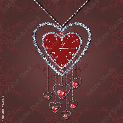 Heart-clock with diamonds and chain on elegant background