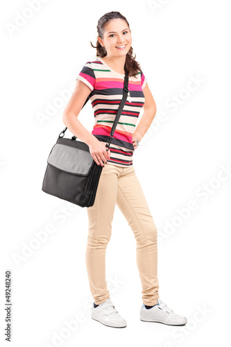 Full length portrait of a female college student with a shoulder