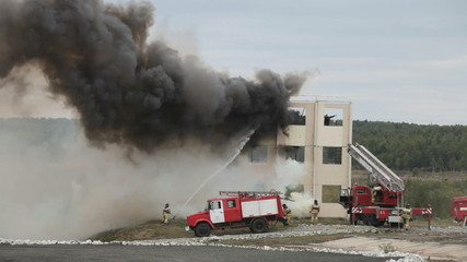 Demonstration of work of firemens