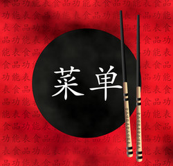 Food menu chopsticks red