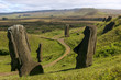 Several moai at Rano Raraku on Easter Island