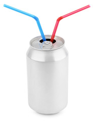 Aluminum soda can with straws isolated on white