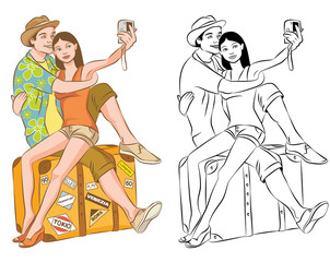 Tourist Couple Taking Their Self Portrait Vector Illustration