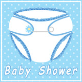 Baby shower card with blue nappy