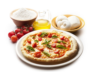 pizza with ingredients isolated on white background