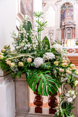 flowers in church ready for marriage