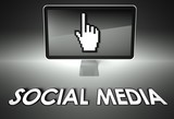 Screen and hand icon with Social media, Network