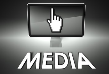 Screen and hand icon with Media, Information