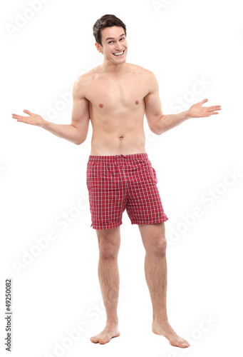 Young man in underwear