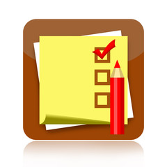 Checklist icon with sticky note paper and pencil