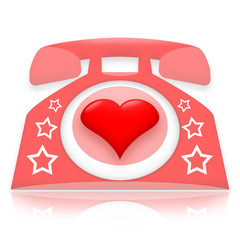 Romantic talking, pink telephone with red heart