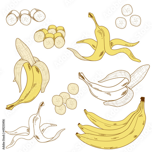 Set of isolated bananas