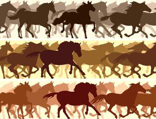Horizontal illustration herd of horses.